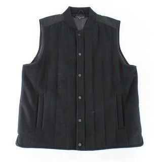 Kenneth Cole NEW Solid Deep Black Mens Size XL Snap Button Vest
