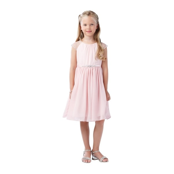 7936114cf062d Shop Girls Blush Ilussion Short Sleeved Chiffon Junior Bridesmaid Dress -  Free Shipping On Orders Over $45 - Overstock - 21335711