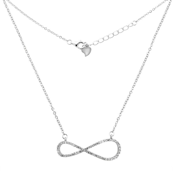 0b640a1ef6 Shop Sterling Silver Micro Pave Cubic Zirconia INFINITY Necklace, 7/16 inch  wide - Free Shipping On Orders Over $45 - Overstock - 20305881