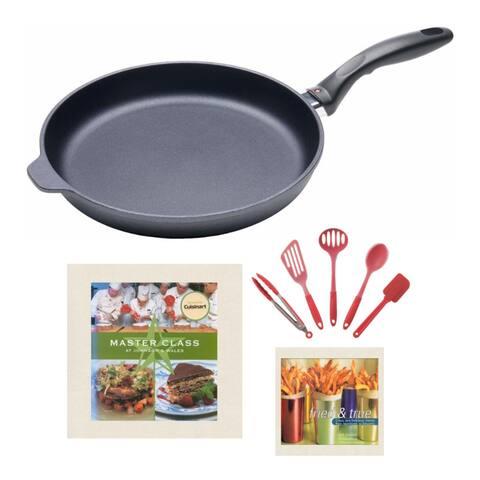 "Swiss Diamond Nonstick Fry Pan (11"") w/ Utensil Set & Cookbooks Bundle - 11"""