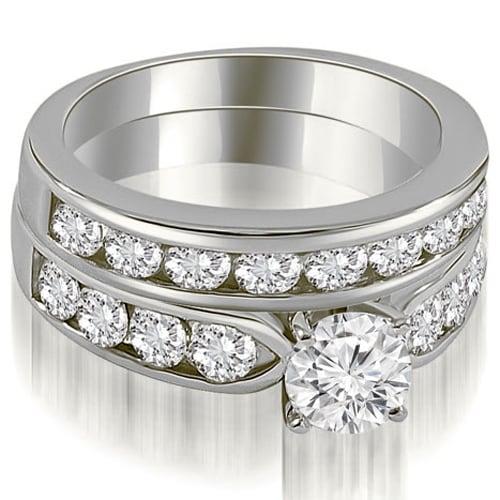 2.70 cttw. 14K White Gold Classic Channel Set Round Cut Diamond Bridal Set