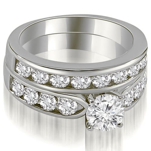 3.20 cttw. 14K White Gold Classic Channel Set Round Cut Diamond Bridal Set,HI,SI1-2
