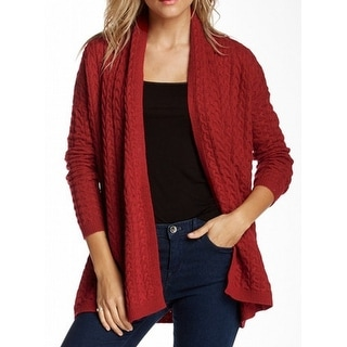 Joan Vass NEW Red Women's Size XS Cardigan Open-Front Cable-Knit Sweater
