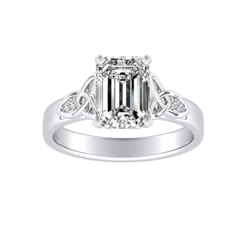 Ethical Sparkle 1ct TDW Emerald-cut Diamond Engagement Ring 14k Gold