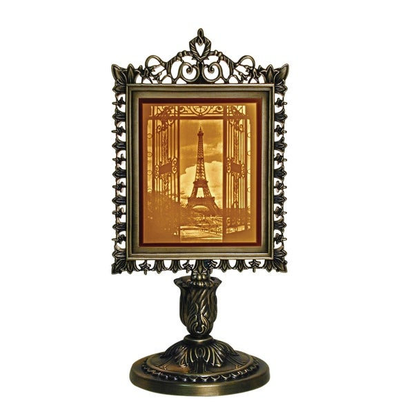 Porcelain Garden Eiffel Tower Lighted Lithophane in Metal Frame Stand - Three Dimensional View - Orange - 6 in. x 13 in.