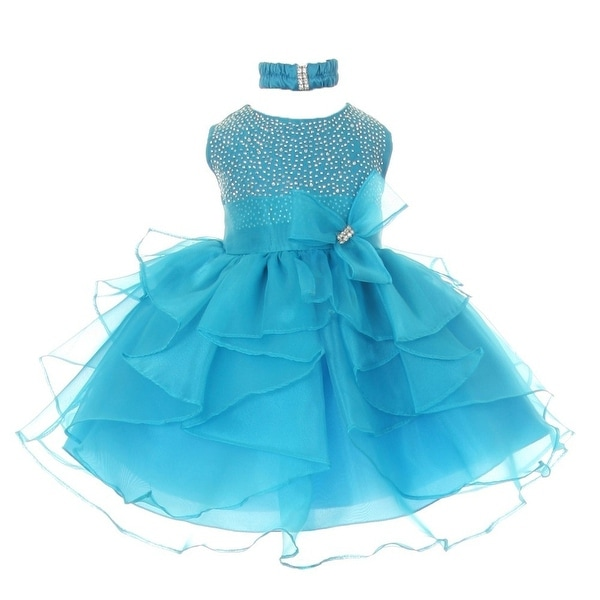 Baby Girls Turquoise Organza Rhine studs Bow Flower Girl Dress 6-24M