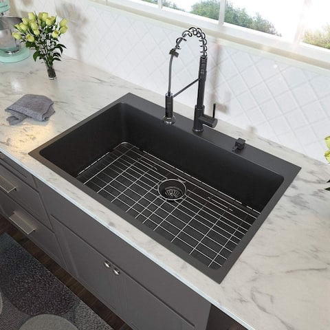 30x22 inch Kitchen Sink Drop In Gunmetal Matte Black 16 Gauge Stainless Steel Single Bowl Topmount Kitchen Sink Basin