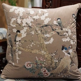 "Luxury Brown Bird Printing Pillow 20""X20"""