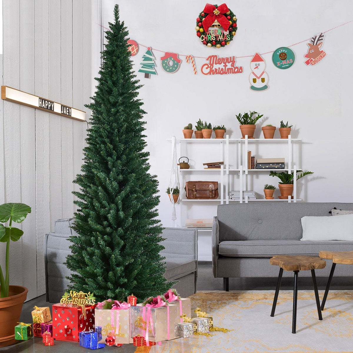 size 40 e7b41 8662a Gymax 9' PVC Artificial Christmas Tree Holiday Decor Slim Pencil Tree Metal  Stand