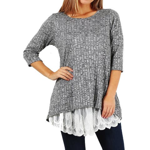 Funfash Women Plus Size Gray White Lace Pullover Cardigan Sweater USA