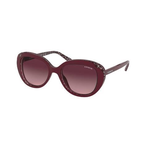 Coach HC8289F 55848H 55 Burgundy Glitter Signature C Woman Round Sunglasses