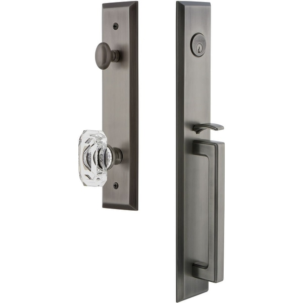 """Grandeur FAVDGRBCC_ESETD_NA Fifth Avenue Solid Brass Rose Dummy """"D"""" Grip Handleset with Baguette Clear Crystal Knob"""
