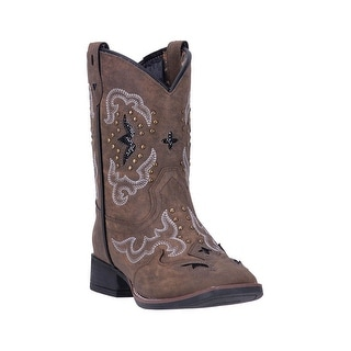 Laredo Western Boots Girls Spellbound Broad Square Toe Brown LC2270