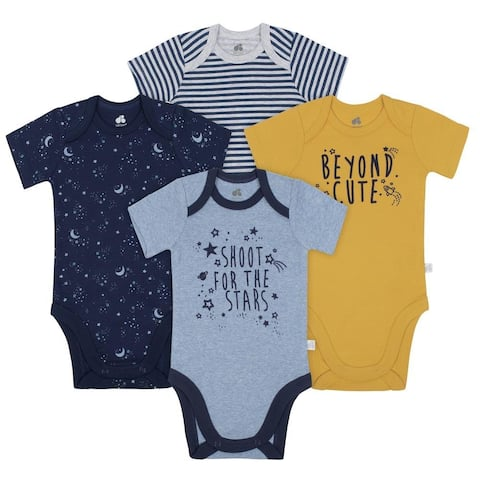 Just Born Baby and Infant Space and Stars 4-Pack Organic Short-Sleeve Bodysuits - blue/yellow