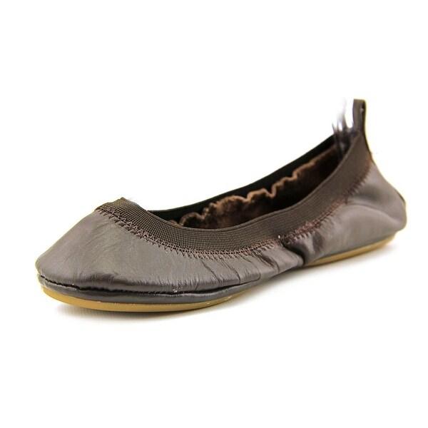 Yosi Samra Samantha Women Round Toe Leather Brown Ballet Flats