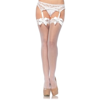 Sheer Lace Top Thigh Highs With Satin Bows, Bridal Lingerie