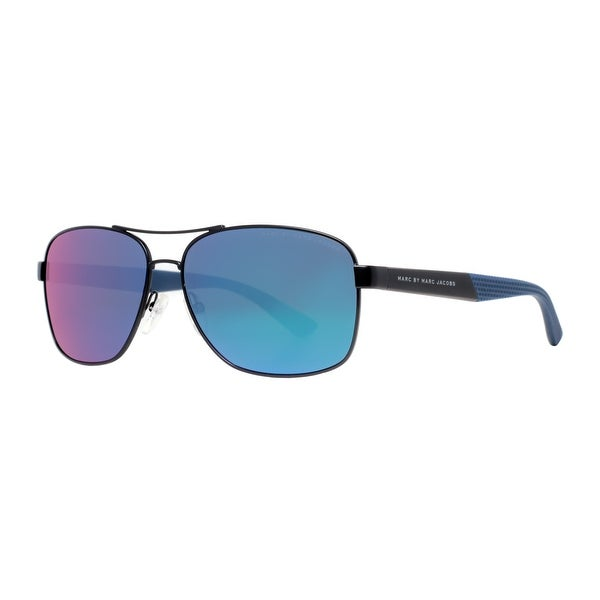 Marc by Marc Jacobs MMJ 431/S KU4/T5 Matte Black/Blue Men's Navigator Sunglasses - MATTE BLACK - 59mm-14mm-140mm
