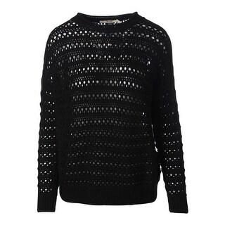 J Brand Womens Wool Crochet Pullover Sweater