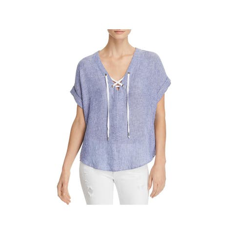 Rails Womens Jeri Pullover Top Striped Lace-Up