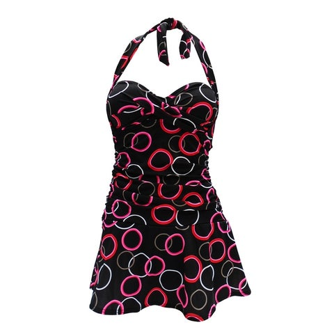 Retro Feel Bandeau Twist Front Halter Tie Swimdress in Black & Red