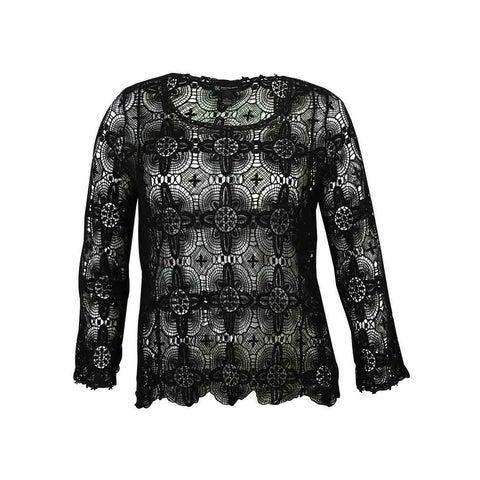 INC Women's Lace Crochet Sweater - Deep Black