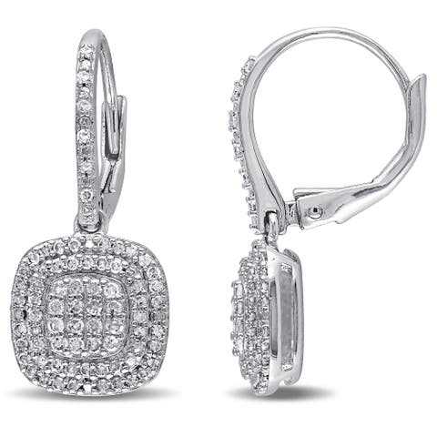 Composite 1/2ct TDW Diamond Dangle Leverback Earrings in Sterling Silver by Miadora - 25.2 mm x 10.3 mm x 12.9 mm
