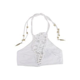 Roberto Cavalli Women White Knot Caged Gold Feather Tassel Two Pc - S