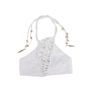 Roberto Cavalli Womens White Knot Caged Gold Tassel Halter Top - 38 c