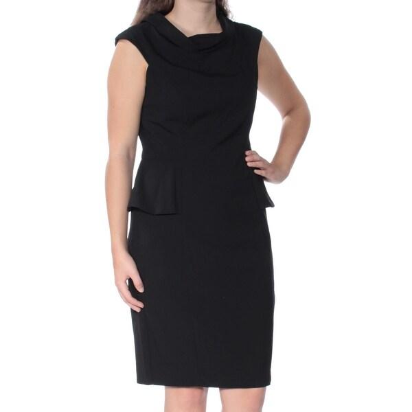 Shop American Living Womens Black Cap Sleeve Cowl Neck Knee Length