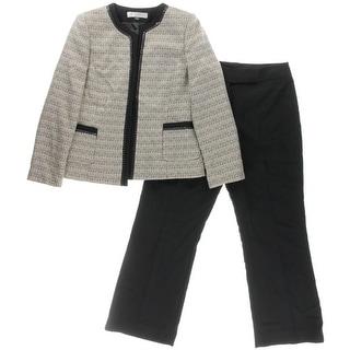 Tahari ASL Womens Petites Jerry Pant Suit Boucle Chain
