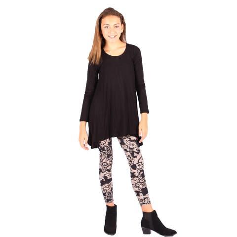 Lori&Jane Girls Black White Tan Black Tunic Dress Leggings Set