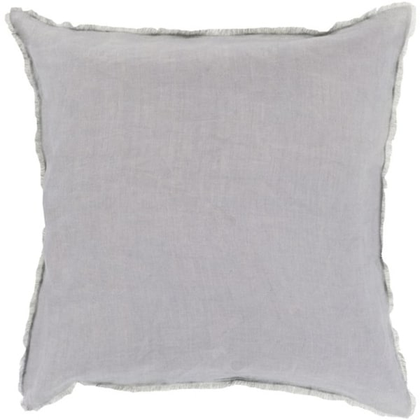 "18"" Baby Blue and Slate Gray Eyelash Fringe Decorative Throw Pillow - Down Filler"
