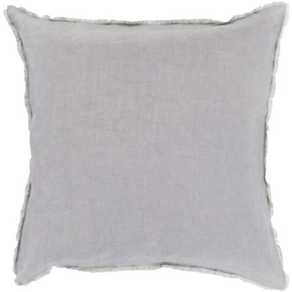 """22"""" Baby Blue and Slate Gray Eyelash Fringe Decorative Throw Pillow"""