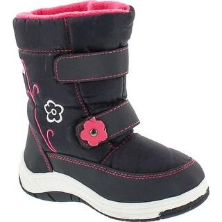 Via Pinky Scarlett-52F Children Girl Comfort Flower Warm Mid Calf Snow Boots - Blue