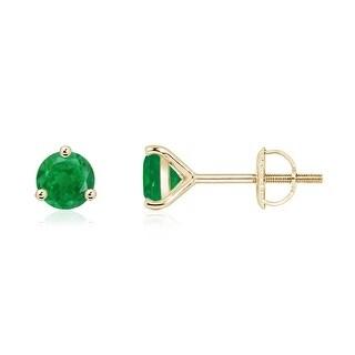 Angara 3 Prong Martini Setting Round Emerald Stud Earrings