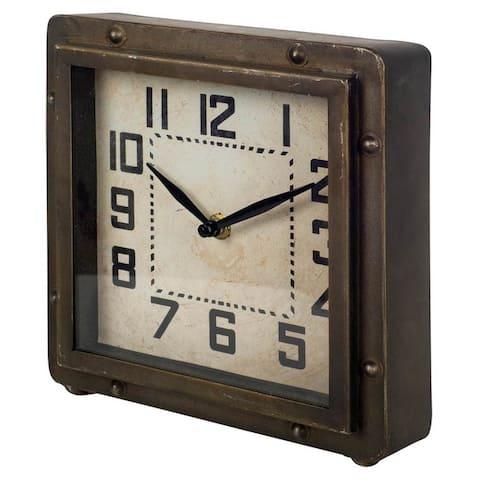 Mercana Redding Bronze Toned Metal Square Table Clock - 2.5L x 8.3W x 8.5H