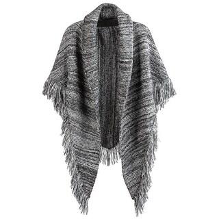 Demdaco Women's Variated Yarn Knit Sweater Wrap - Fringed Shoulder Shawl - Medium