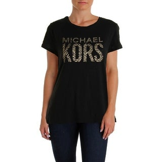 MICHAEL Michael Kors Womens Metallic Graphic Pullover Top