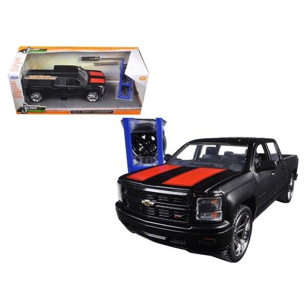 2014 Chevrolet Silverado Pickup Truck Matt Black Just Trucks with Extra Wheels 1/24 Diecast Model by Jada