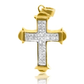 14K Yellow Gold Princess Cut Diamond Cross 1/2cttw Diamonds 29mm Tall (i2/i3, i/j) By MidwestJewellery - White