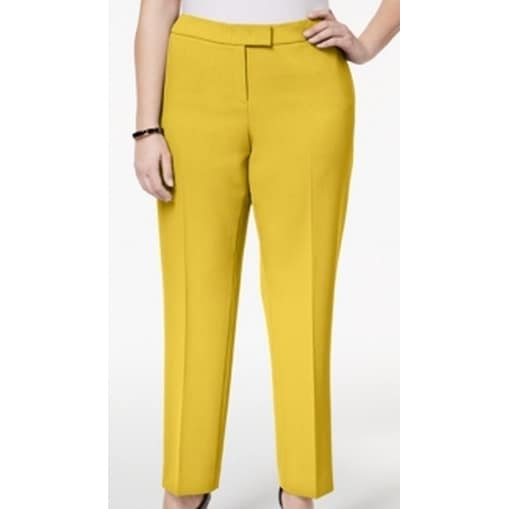 c068b021613c Shop Anne Klein NEW Yellow Womens 24W Plus Stretch Straught-Leg Dress Pants  - Free Shipping On Orders Over $45 - Overstock - 21429567