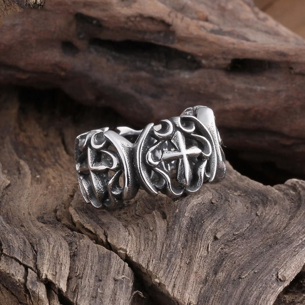 Vienna Jewelry Double Cross Emblem Stainless Steel Ring