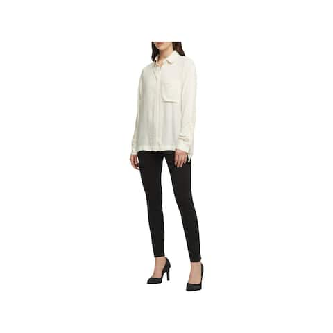 DKNY Womens Button-Down Top Tie Sleeves Point Collar