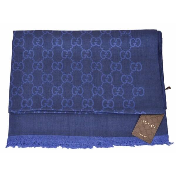 7fde7eee277 Shop Gucci 165903 Large Lightweight Sapphire Blue Wool Silk GG ...