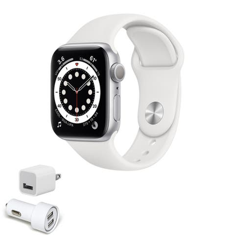 Apple Watch Series 6 (GPS, 40mm, Silver Aluminum, White Sport Band)
