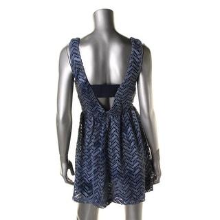 Trixxi Womens Juniors Eyelet Mesh Sleeveless Skater Dress