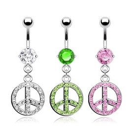 "Surgical Steel Single Gem Belly Button with CZ Paved Peace Sign Dangle - 14GA 3/8"" Long (Sold Ind.)"