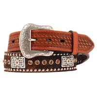 Nocona Western Belt Mens Leather Rhinestones Hair Brown