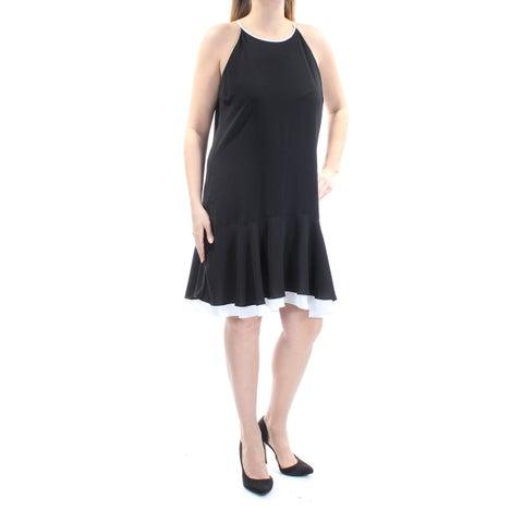 VINCE CAMUTO Womens Black Spaghetti Strap Jewel Neck Above The Knee Drop Waist Dress Size: 10