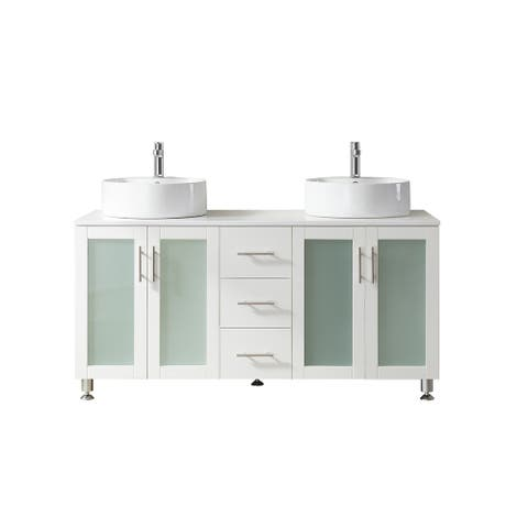"""Pesaro 60"""" Vanity in White with Stone Top with Vessel Sink,No Mirror"""
